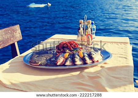 fresh seafood plate in restaurant near the sea
