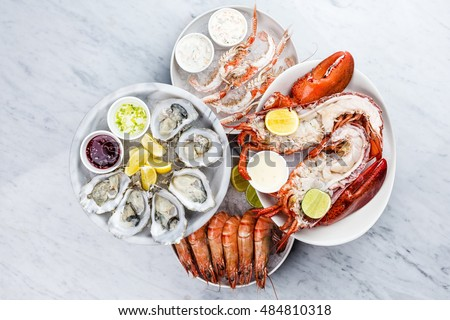 Fresh seafood platter with lobster,mussels and oysters
