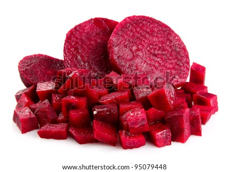 Fresh segments of a beet on white phonemes