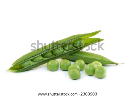 Fresh shelled and unshelled sugar peas, isolated on white.