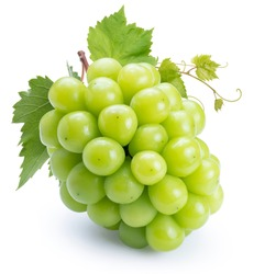 Fresh Shine Muscat Grape isolated on white background, Green grape with leaves isolated on white With clipping path.