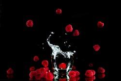 fresh shiny raspberry explotion glass