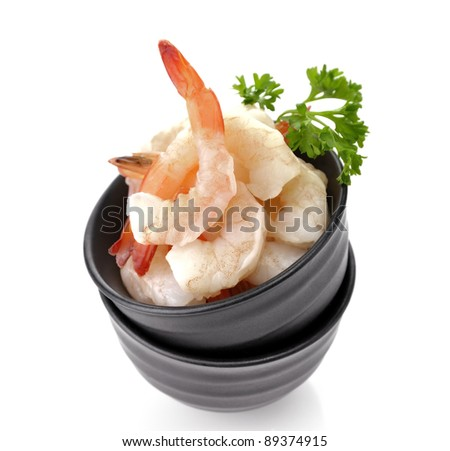 Fresh Shrimps In A Black Dish , Close Up