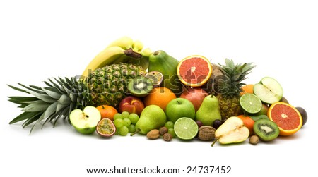 fresh slice fruits on white background