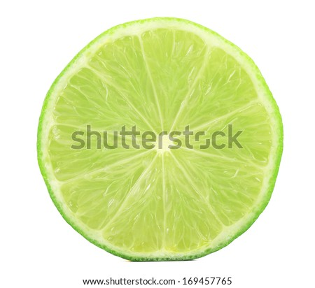 Fresh slice of lime. Isolated on a white background. #169457765