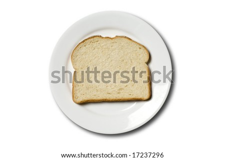 stock photo : Fresh slice of sourdough bread on a white plate,isolated on a