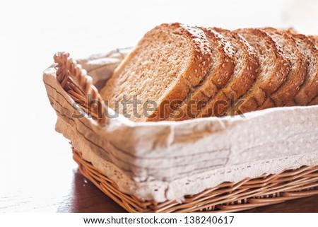 Fresh sliced bread in a wicker basket