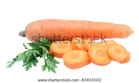 fresh sliced carrot with green parsley isolated on white background