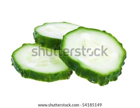 Fresh sliced cucumber isolated on white background