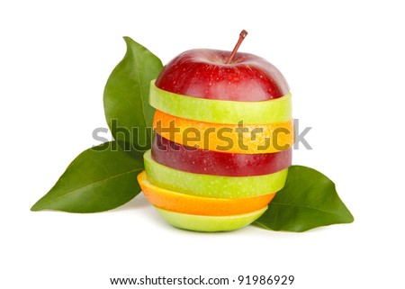 Fresh sliced fruit with  leaves isolated on white