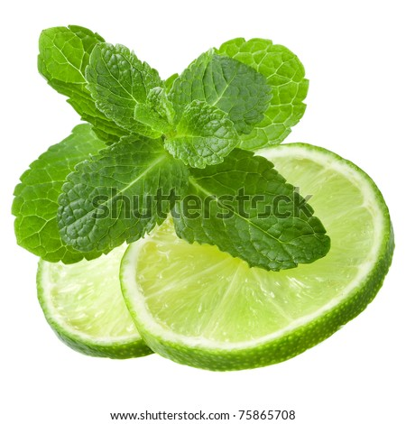 fresh slices lime with leaf mint isolated