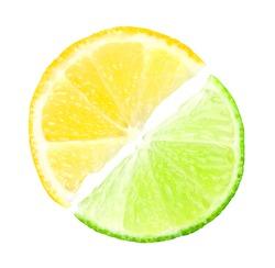 Fresh slices of lime and lemon on white background