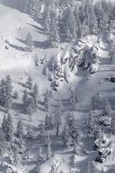 Fresh snow at Bogus Basin ski area in Boise, Idaho