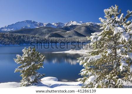 Fresh Snowfall at Crystal Reservoir in Colorado with Pikes Peak