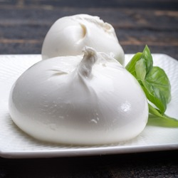 Fresh soft white burrata, ball buttery cheese, made from a mix of mozzarella and ricotta cream, original from Apulia region, Italy, very popular soft cheese in USA