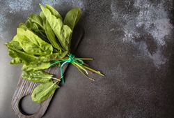 Fresh sorrel leaves, a bunch of spinach on a dark background. Greens for spring soup of green vegetables and salad. Copy space.Spring green vegetables-sorrel spinach