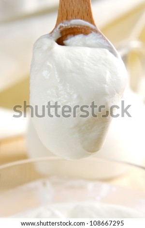 Fresh sour cream - stock photo