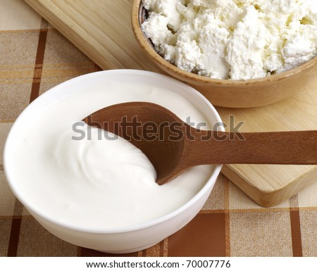 fresh sour cream and  quark - stock photo