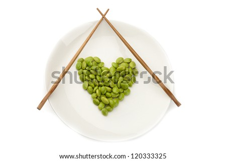 Fresh soybeans on a white plate with chopsticks