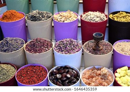 Fresh Spices arranged in Dubai Spice Market