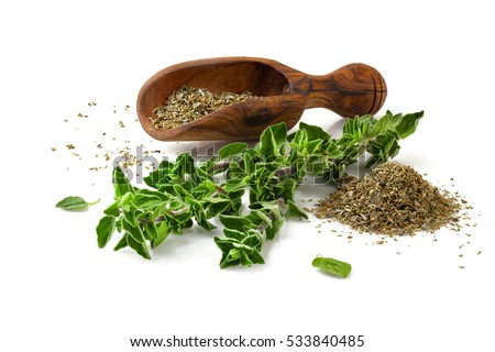 Shutterstock Fresh sprig of oregano and dry oregano spice isolated on white background