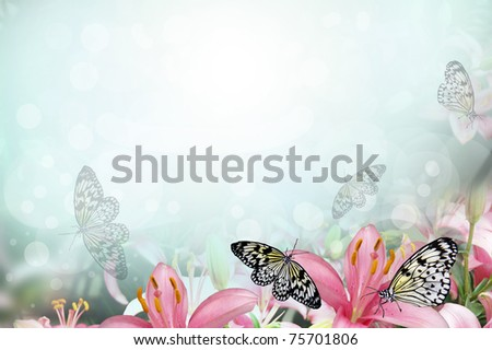 Fresh spring background with flowers and butterflies