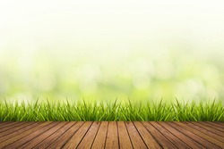 Fresh spring grass with green nature blurred background and wood floor pattern, design element for display product in natural environment and eco friendly concepts