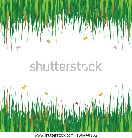 Fresh spring green grass on white background (vector format also available in my portfolio)
