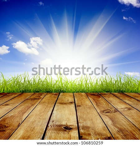Fresh spring green grass with blue sky and sunlight and wood floor background