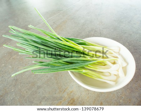 Fresh spring onion (also know as Scallions, Green shallots, Onion sticks, Green onions or Salad onions) in dish