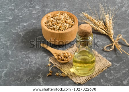Fresh sprouted wheat seeds in bowl and spoon, ears, wheat germ oil in bottle. Source of vitamins and micronutrients, has general strengthening, immunostimulating, antibacterial, antioxidant properties Stock photo ©