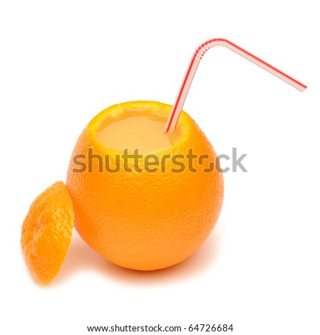 fresh squeezed orange juice isolated on a white background - stock photo