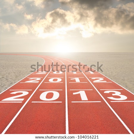 Fresh start 2013 concept with running track in desert