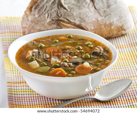 Fresh stew with bread close up shoot