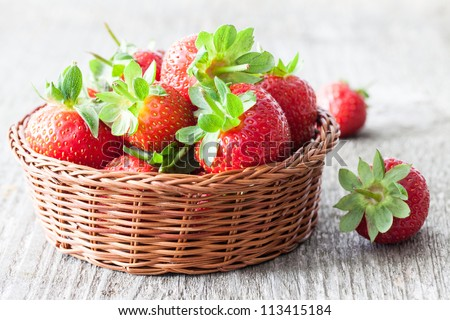 fresh strawberries in a basket