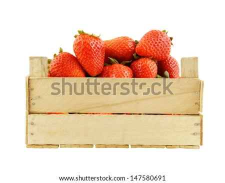 Fresh strawberries in wooden box isolated