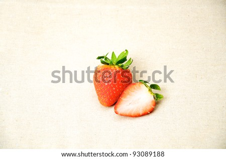 fresh strawberries with brown sacking