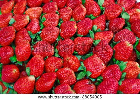 fresh strawberry in market closeup background , Asia , Thailand