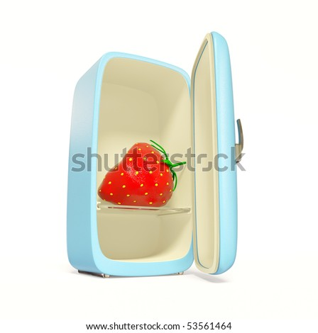 fresh strawberry inside blue fridge on white