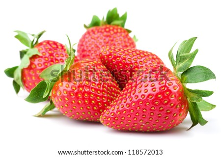 Fresh strawberry isolated on white background Studio macro