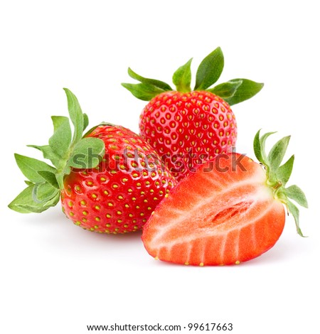 Fresh strawberry isolated on white background. Studio macro