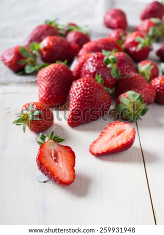 Fresh strawberry on a wooden table