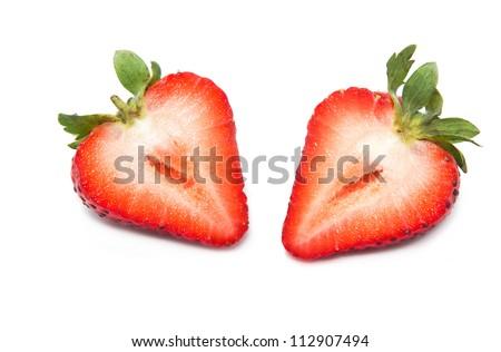 Fresh strawberry  slice on a white background