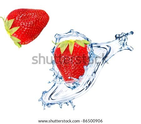 Fresh strawberry splashing into water