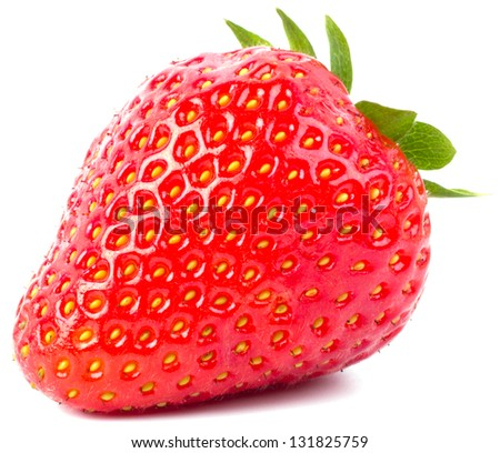Fresh strawberry were placed on a white background