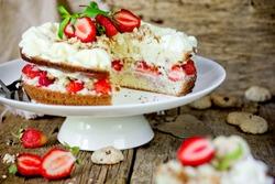 Fresh strawberry whipped cream biscuit layered cake