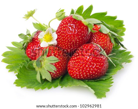 fresh strawberry with leaves isolated on white background