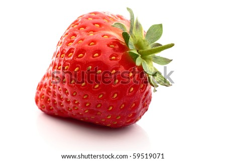 Fresh strawberry with reflection close up on white background