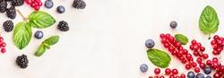 Fresh summer berries, corner frames on white wooden background, top view, banner for website