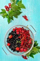 Fresh summer berries in a basket. Black currant, red currant, raspberry, cherry and strawberry